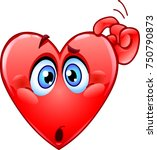 confused heart emoticon... | Shutterstock .eps vector #750790873