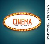 glowing cinema signboard banner.... | Shutterstock .eps vector #750794677