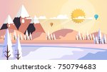 beautiful nature winter vector...   Shutterstock .eps vector #750794683