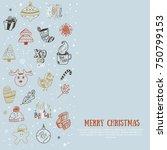 doodle merry christmas card....   Shutterstock .eps vector #750799153