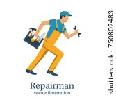repairman. person with...   Shutterstock .eps vector #750802483