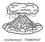 volcano   cartoon vector and... | Shutterstock .eps vector #750809437