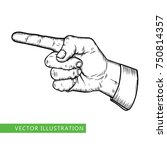 male finger way pointer. vector ... | Shutterstock .eps vector #750814357