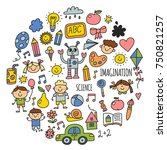 school  kindergarten. happy... | Shutterstock .eps vector #750821257