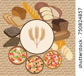 vector set of wheat cartoon... | Shutterstock .eps vector #750824857