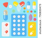 set of icons pills and capsules.... | Shutterstock .eps vector #750830473