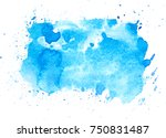blue watercolor brush stains... | Shutterstock . vector #750831487