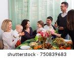 multigenerational happy family... | Shutterstock . vector #750839683