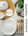 top view of table setting for... | Shutterstock . vector #750845533
