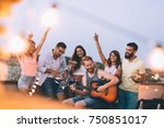 group of happy friends having... | Shutterstock . vector #750851017