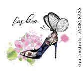 beautiful card with high heel... | Shutterstock .eps vector #750858433