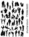 Vector Set Of Silhouettes Of...