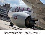 qatar airways airbus a350... | Shutterstock . vector #750869413