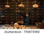 apothecary worker opening... | Shutterstock . vector #750873583