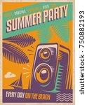 summer party retro poster...   Shutterstock .eps vector #750882193