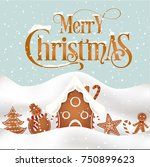merry christmas vector card | Shutterstock .eps vector #750899623