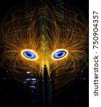 wire wool spinning on fire in... | Shutterstock . vector #750904357