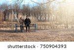 a pair of young people met in... | Shutterstock . vector #750904393