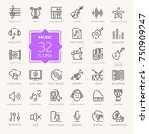Music Web Icon Set   Outline...
