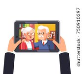 online video call with elder... | Shutterstock .eps vector #750910297