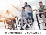 a colleague rolls a person in a ... | Shutterstock . vector #750912577