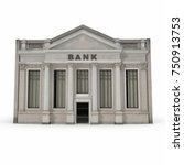 bank building with columns on... | Shutterstock . vector #750913753