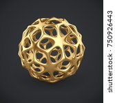 3d gold wireframe ball isolated ... | Shutterstock . vector #750926443