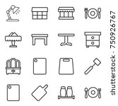 thin line icon set   table lamp ... | Shutterstock .eps vector #750926767
