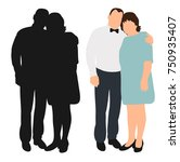 silhouette of husband and wife | Shutterstock .eps vector #750935407