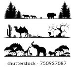 set of silhouettes of the taiga ... | Shutterstock .eps vector #750937087