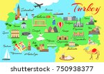 map of turkey with main sights... | Shutterstock .eps vector #750938377