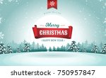 merry christmas greeting card ... | Shutterstock .eps vector #750957847