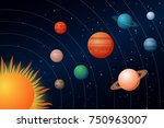 solar system with the sun and... | Shutterstock .eps vector #750963007