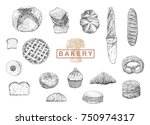 bakery set. hand drawn vector... | Shutterstock .eps vector #750974317