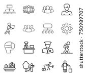 thin line icon set   hierarchy  ... | Shutterstock .eps vector #750989707