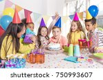 a group of children at birthday ... | Shutterstock . vector #750993607