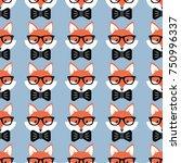 cute cartoon foxes  vector... | Shutterstock .eps vector #750996337