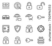 thin line icon set   money ... | Shutterstock .eps vector #750996553