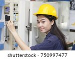 young asian woman engineer set... | Shutterstock . vector #750997477