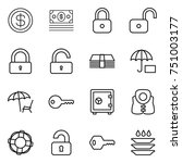 thin line icon set   dollar ... | Shutterstock .eps vector #751003177