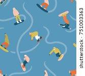 snowboarding seamless pattern... | Shutterstock .eps vector #751003363