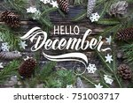 "Small photo of Great season texture with winter mood. Spruce branches, cones and snowflakes on old wooden rustic background. Nature december background with hand lettering ""Hello December""."