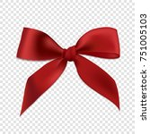 red realistic 3d bow  isolated... | Shutterstock .eps vector #751005103