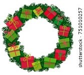 christmas wreath with gift... | Shutterstock .eps vector #751010257