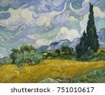 wheat field with cypresses  by... | Shutterstock . vector #751010617