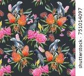 watercolor illustration pattern ...   Shutterstock . vector #751014097