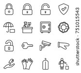 thin line icon set   lock ... | Shutterstock .eps vector #751015543