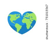 earth map on heart. world day... | Shutterstock .eps vector #751015567