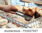 portrait of  caucasian waiter...   Shutterstock . vector #751027357