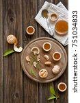 mandarins and tangerine jam in... | Shutterstock . vector #751034833